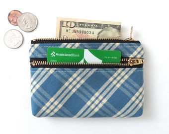 Wallet Coin Purse Double Zipper Pouch Blue Plaid