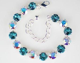 Light Turquoise & Crystal Aurora Borealis Rhinestone Bracelet Swarovski Wedding Jewelry Bridesmaid Jewelry