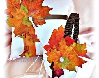 Fall Leaves Wedding Ring Pillow and Basket - Wedding  Ring Cushion Flower Girl Basket - Chocolate Brown Burnt Orange or Custom Color