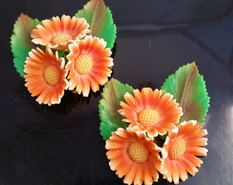 Floral Celluloid Sash Belt Buckles (2), Vintage 1930's Plastic Floral Women's Accessories, Metal Band