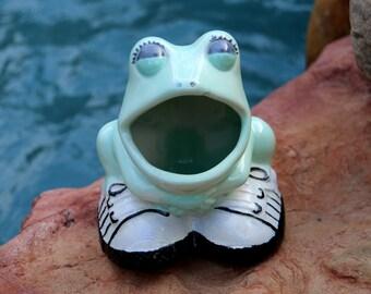 Frog Lover Gift - Sponge Holder Frog Gift - Ceramic Frog with Tennis Shoes - Vintage Quirky Mint Green Frog Prince - Live in Moment Vintage