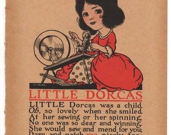 Vintage Nursery Print - Little Dorcas - 1917
