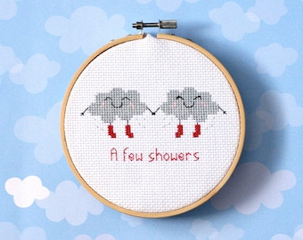 "Clouds cross stitch pattern : ""A few showers"" - cross stitch pdf pattern -cute kawaii rain clouds - weather pattern - INSTANT DOWNLOAD"