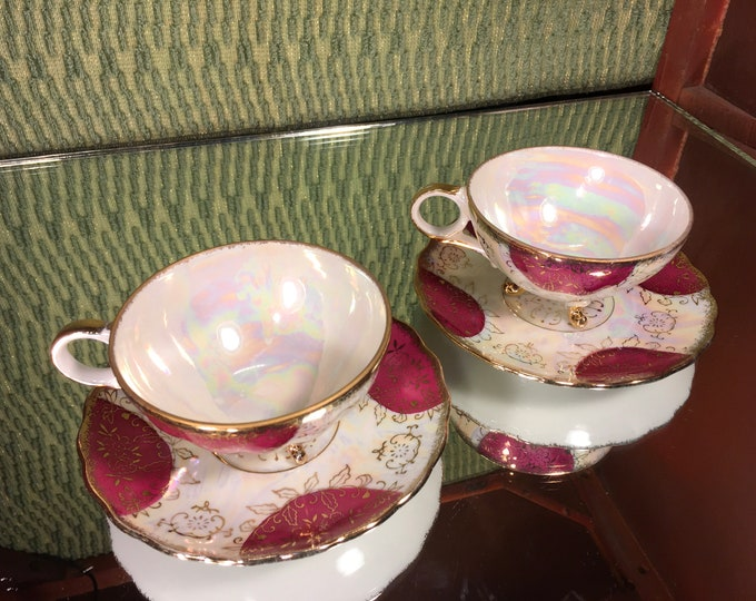 Pair of Vintage Iridescent Three Footed Tea Cups and Saucers, bone china
