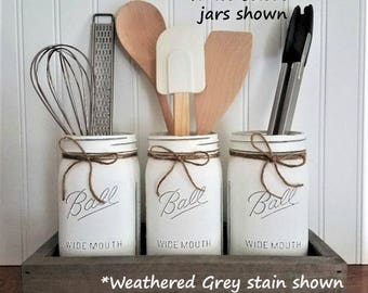 Mason Jar Decor, Mason Jar Utensil Holder, Kitchen Organization, Farmhouse Kitchen, Farmhouse Decor, Kitchen Decor, Rustic Decor