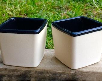 Set of 2 White Porcelain Tumblers with black interior glaze