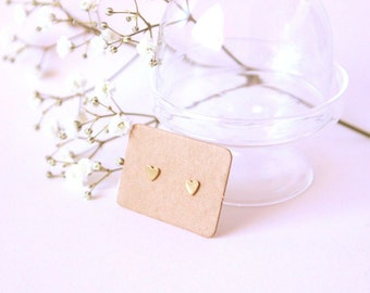 Small Heart stud earrings, gold plated.