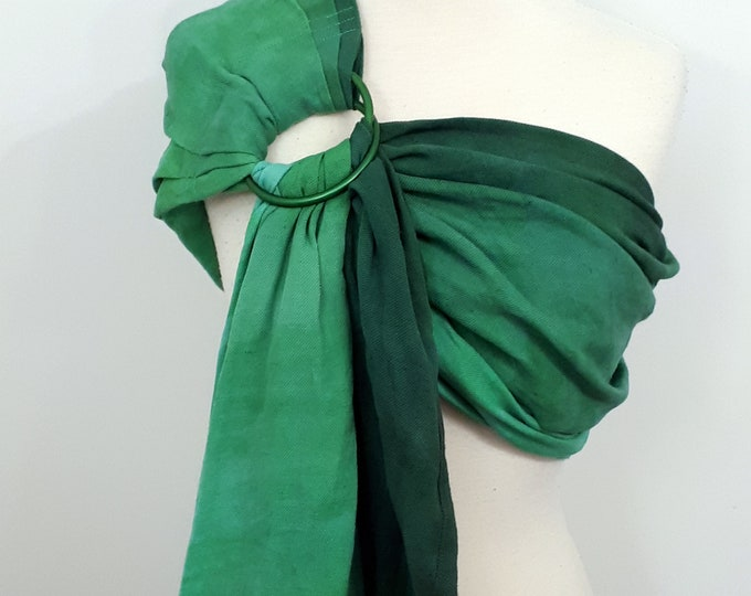 Hybrid shoulder ring sling, wrap conversion ring sling, cotton - Linen, hand dyed, turquoise, green, emerald