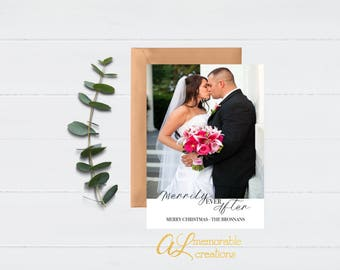 Merrily Ever After Christmas Photo Card, Married Photo Christmas Card, Photo Holiday Card, Newlywed Christmas Card, Modern Holiday Card