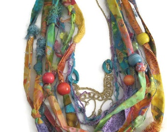 Fabric Fiber Beaded Gypsy Hippie Ethnic Necklace