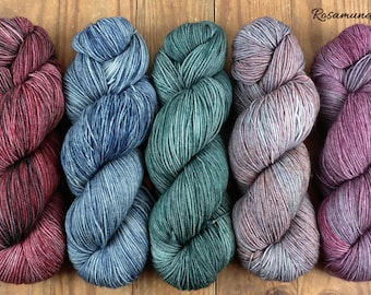 Appalachian Wine collection - earth tones tonal hand dyed yarn - fingering sock weight - gray green blue red brown - ready to ship