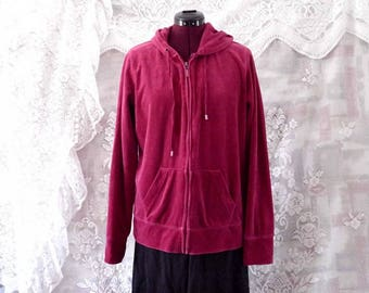 Moving Sale Magenta Velour Hooded Jacket