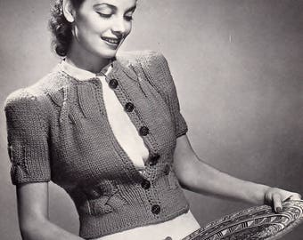 1940's Short Sleeve Sweater, Quick Knit, Knitting Pattern. Instant Download.