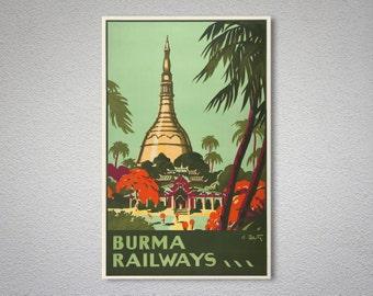 Burma Railways Vintage Travel Poster - Poster Print, Sticker or Canvas Print / Gift Idea