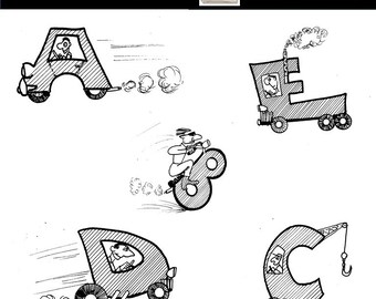 Alphabet Clip Art - Illustrated Alphabet Clip Art - Transportation Letters - Letters - ABCs - Personal or Commercial Use - Instant Download