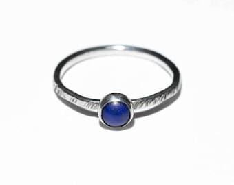 Lapis Lazuli Stacking Ring, sterling silver