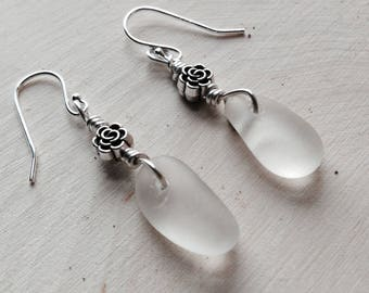 Genuine Sea Glass Earrings-Sterling Silver, White Sea Glass- Raindrops and Roses