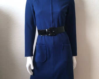 Vintage Women's 60's Mod Dress, Navy Blue, Long Sleeve, Polyester (S)