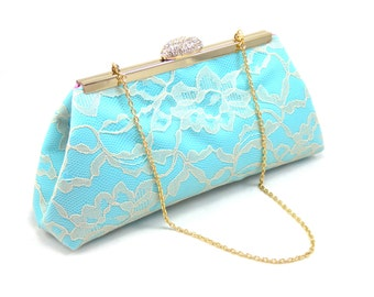 Bridesmaid Gift Clutch, Aqua Blue, Dusty Rose And Champagne Bridal Clutch, Mother Of The Bride Gift, Bridal Shower Gift, Gift Ideas
