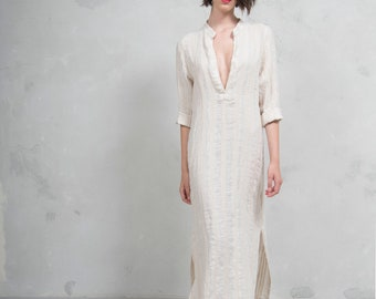 EMMA latte striped woven linen with pattern.  ONE SIZE. Quality linen shirtdress. *Lux collection*