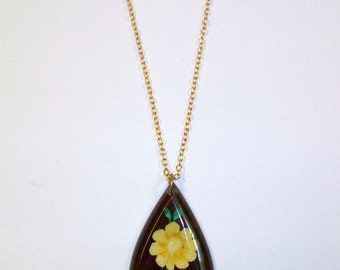 Vintage Yellow Flower Necklace DEADSTOCK