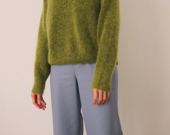 Avocado Sweater- ribbed mohair wool blend sweater