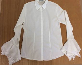 White Cotton Blouse with Fretwork Embroidery Detail