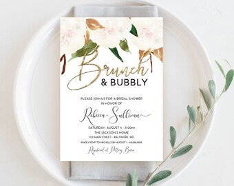 Brunch and Bubbly Southern Bridal Shower Invitation - White Magnolia and Faux Gold Foil Watercolor Floral Boho Shower Invitation Printable