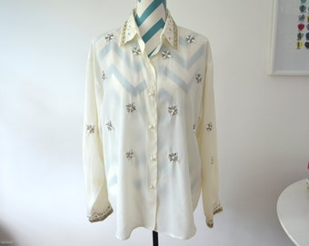 Vintage Beaded Blouse Long Sleeve - Cream Button Down Pearl Crystal Snowflake Embroidery Embellished Top Large
