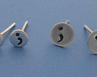 Semi Colon Stud Earrings
