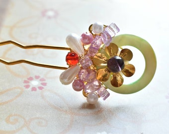 Chinese Golden flower and Shell and  Pearls and Crystals Hair Accessories Hair Stick Hair Pin