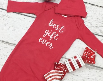 Newborn Christmas gown, best gift ever baby gown, 1st Christmas gown, baby Christmas gown