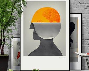 Memory Game. Original illustration art poster giclée print signed by Paweł Jońca.