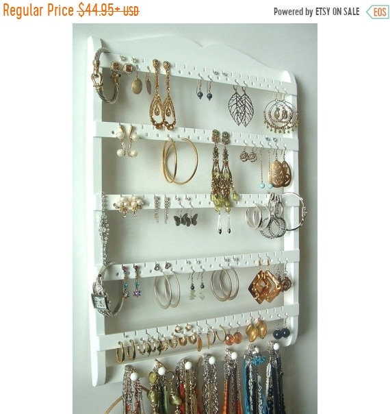 ON SALE Jewelry Holder Earring Organizer Solid Oak Wood