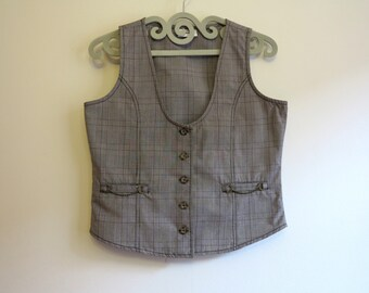 Brown Plaid Women's Vest Fitted Steampunk Formal Vest Checkered Waistcoat Womens Gilet Large Size