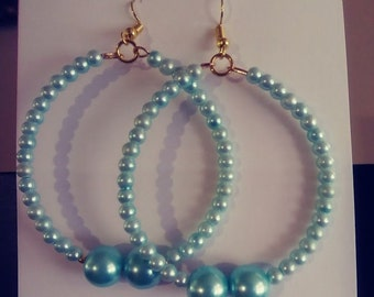 Aqua Glass Pearls Memory Wire Hoop Earrings