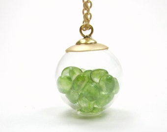 Bubble Shake Necklace - Glass Bubble Peridot Necklace Charm Floating Locket - Filled Round Orb Pendant Matte Gold Necklace - Gift for Her