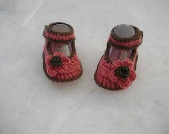 RESERVE A DARIA chaussons ballerine  bébé coloris bois de rose et marron