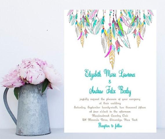 Native American Wedding Invitations: Feather Wedding Invitation Native American Colorful Wedding