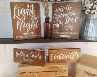 Wedding bundle deal, wood wedding signs bundle and save, mr & mrs chair hangers, light the night, hashtag sign, gifts and cards, cocktails