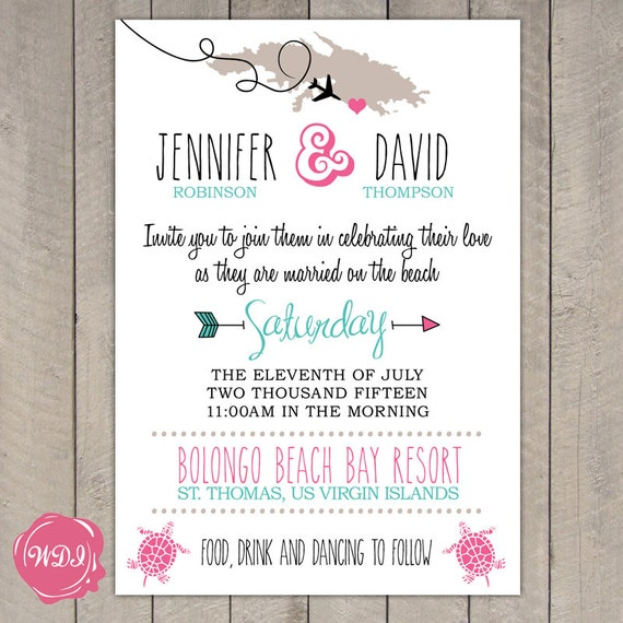 Rhode Island Wedding Invitation Printed: Destination Wedding Invitation Travel Theme Beach Island