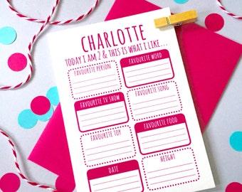Children's Birthday Activity Card – Personalised Birthday Card – Card for Children - Birthday Card for Son - Birthday Card for Daughter