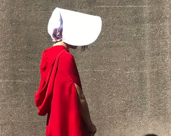 Handmaids Tale Costume Hooded Cloak/ Cape / Bonnet / Crossover Bag /// Childrens' Handmaid Tale Pink Peter Pan Dress w/ Bonnet and Cardigan