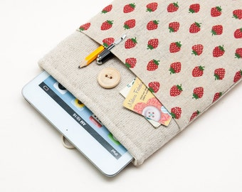 30% OFF SALE Strawberries Pattern iPad Case with button closure. Padded Cover for iPad Mini 1 2 3 4. iPad Mini Sleeve Bag.
