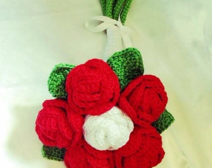 Original bridal bouquet, red and white roses cotton