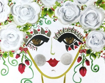 Meet Cerise! A Gypsy Garden Girl - Carmen Miranda Inspired Face - Print from Original Watercolor Painting by Suzanne MacCrone Rogers