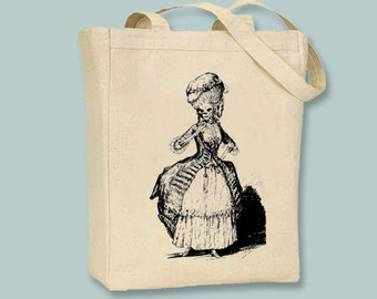 Skeleton Marie Antoinette Canvas Tote  -- Selection of  sizes available