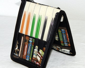 """12 pair capacity Interchangeable knitting needle crochet hook case for 3.5"""" to 6.25"""" in length to size 9 Harry Potter The Restricted Section"""