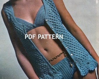 Bikini and Coverup, In 3 sizes, Beach Wear, Vintage Crochet Pattern, PDF, Digital Download