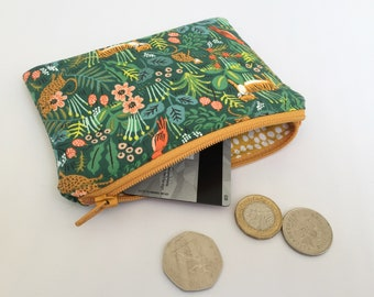 Coin Purse made in Rifle Paper Co - Menagerie Jungle Hunter. Dark green, lined